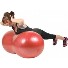 Piłka gimnastyczna (rehabilitacyjna), orzeszek Mambo Max AB Peanut Ball MoVes czerwona 50x100 cm (z pompką) - 05-011103