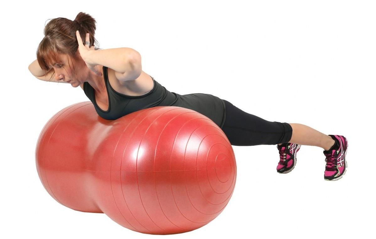 Piłka gimnastyczna (rehabilitacyjna), orzeszek Mambo Max AB Peanut Ball MSD czerwona 50x100 cm (z pompką) - 05-011103