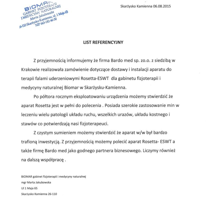 List referencyjny za dostawę i instalację urządzenia Rosetta-ESWT