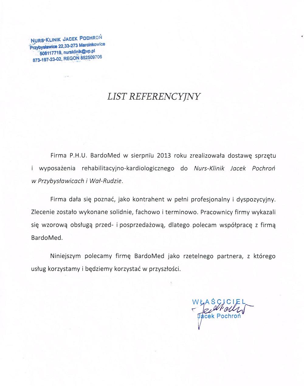 List referencyjny za sprzęt rehabilitacyjno-kardiologiczny BardoMed