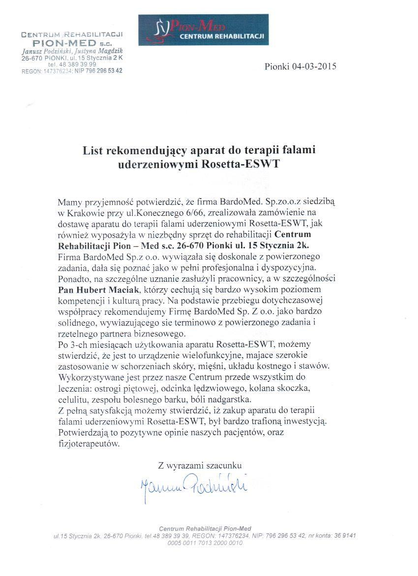 Rekomendacja - aparat do terapii falami uderzeniowymi Rosetta-ESWT