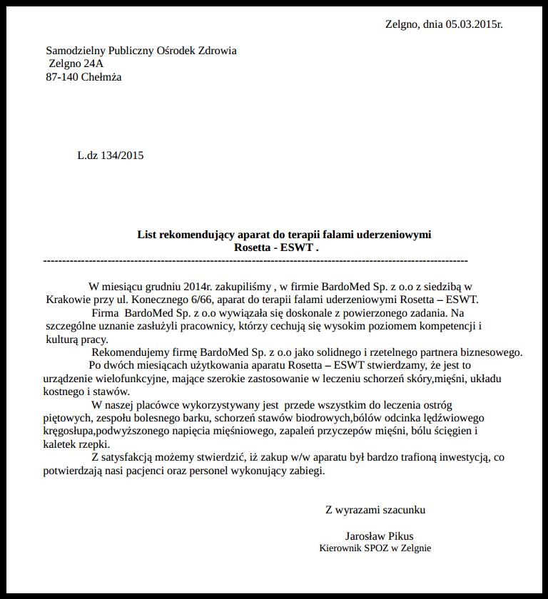 List rekomendujący aparat do terapii falami uderzeniowymi
