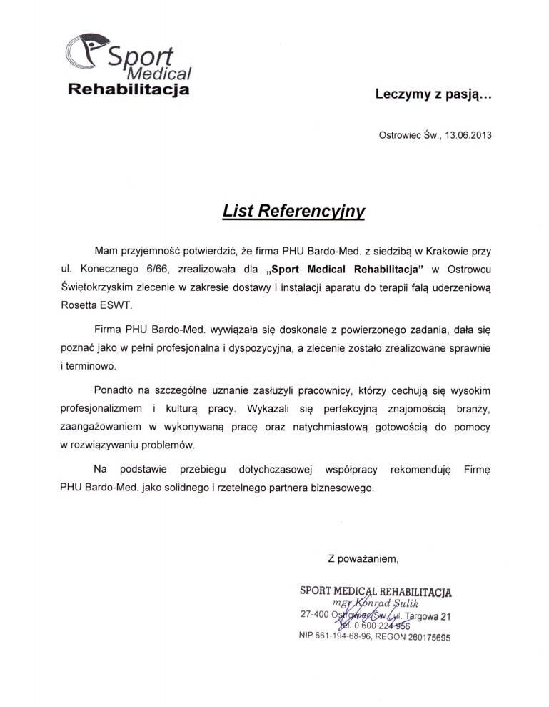Referencje za aparat do terapii falą uderzeniową Rosetta ESWT