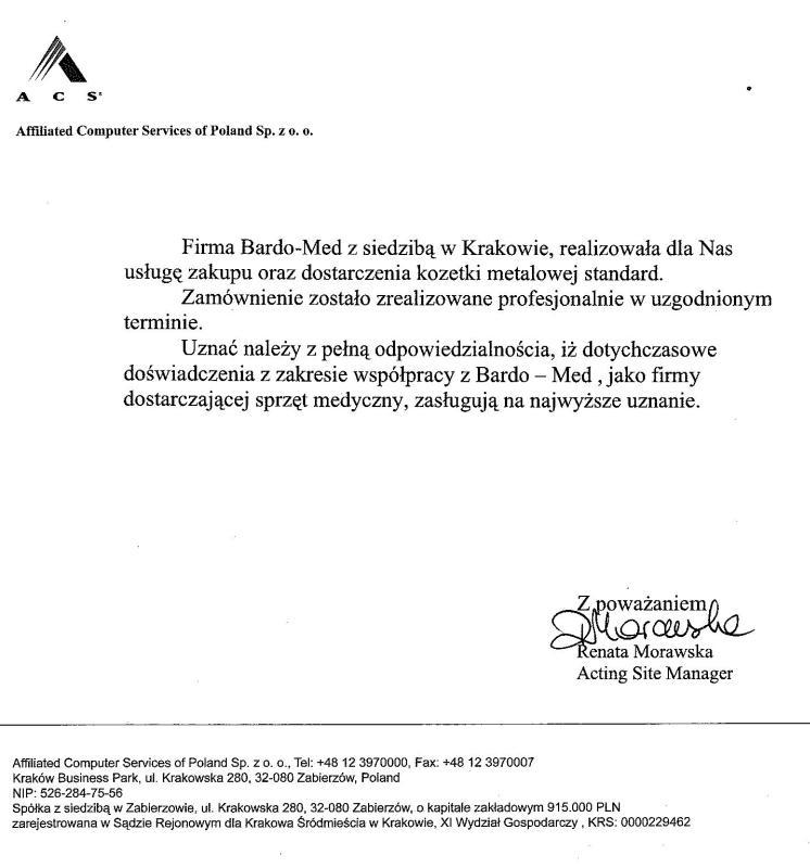 Referencje dla marki BardoMed za kozetkę metalową standard