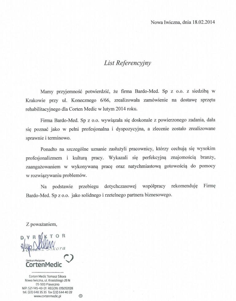 List Referencyjny BardoMed - zamówienie na sprzęt rehabilitacyjny