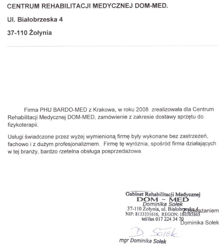 Referencje od DOM-MED za sprzęt do fizykoterapii. BardoMed
