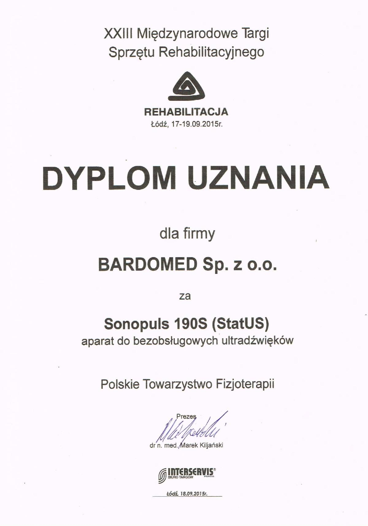 Dyplom dla BardoMed za aparat do bezobsługowych ultradźwięków