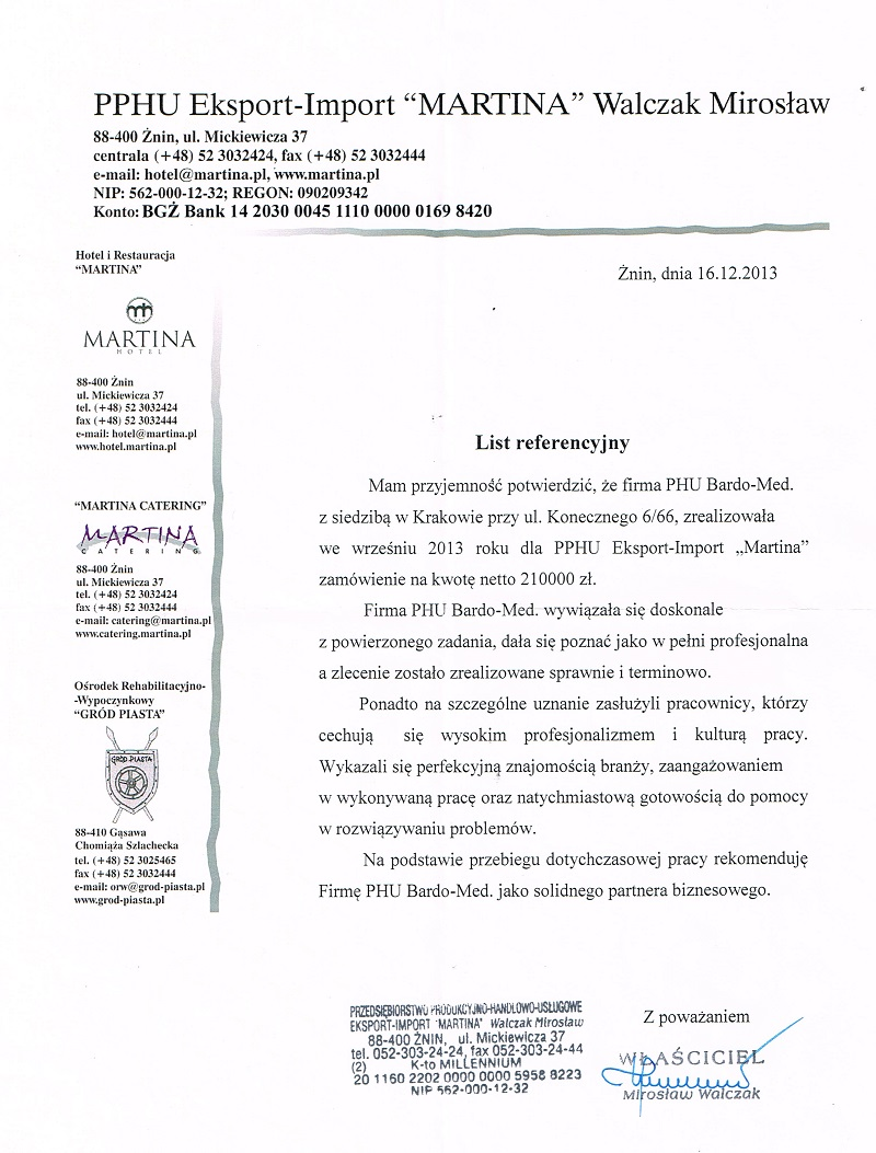 List Referencyjny od firmy Martina. Sklep BardoMed