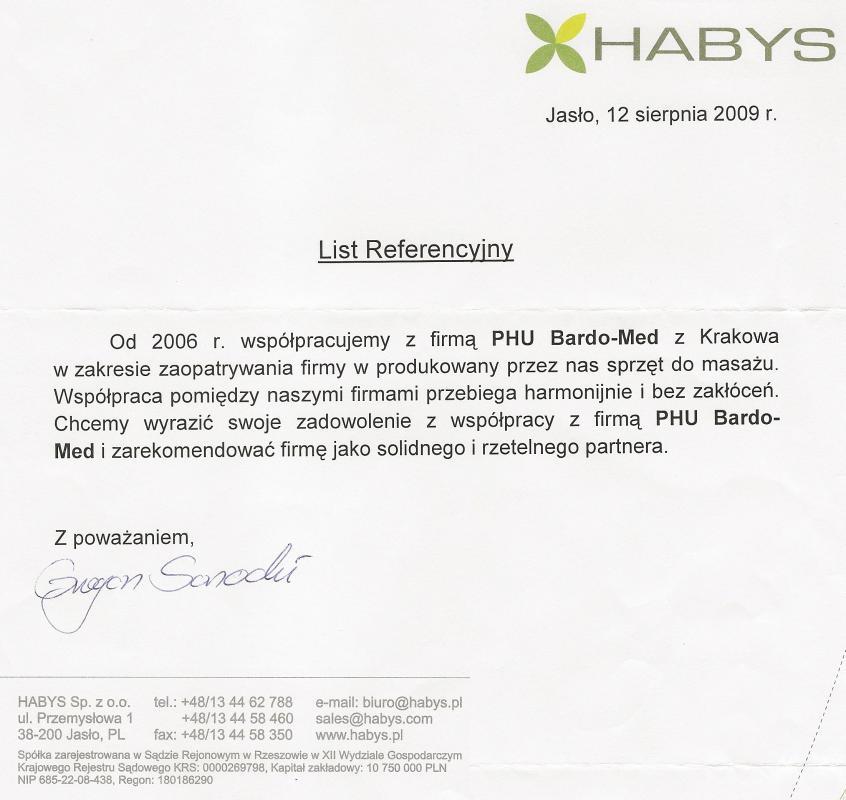 Podziękowania od marki Habys dla BardoMed za sprzęt do masażu