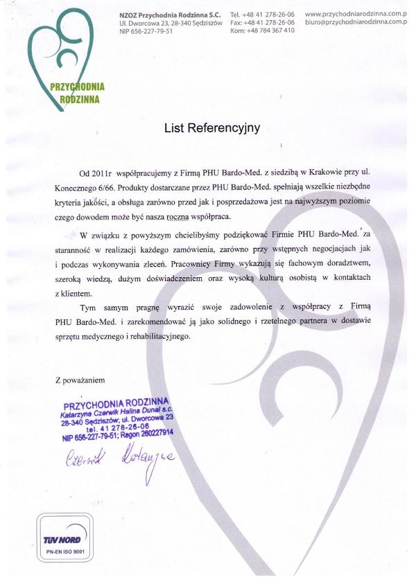 List referencyjny dla BardoMed za sprzęt medycyjny i rehabilitacyjny