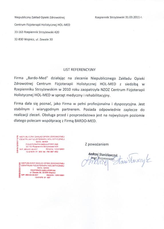 list referencyjny - NZOZ. Sprzęt medyczny, rehabilitacyjny