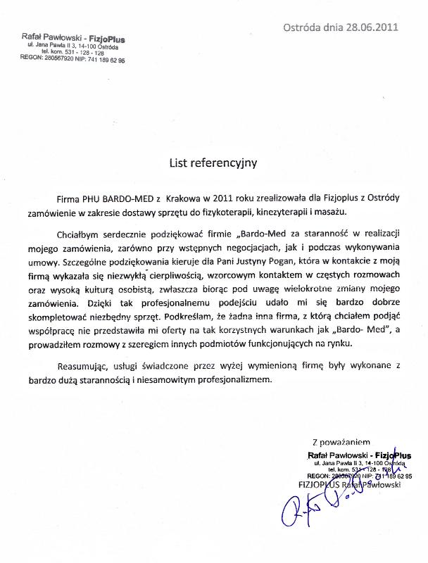 BardoMed, list referencyjny FizjoPlus. Sprzęt fizjoterapeutyczny