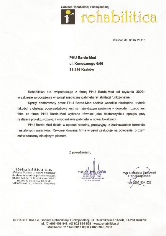 Wyposażenie gabinetu rehabilitacji w sprzęt medyczny - współpraca