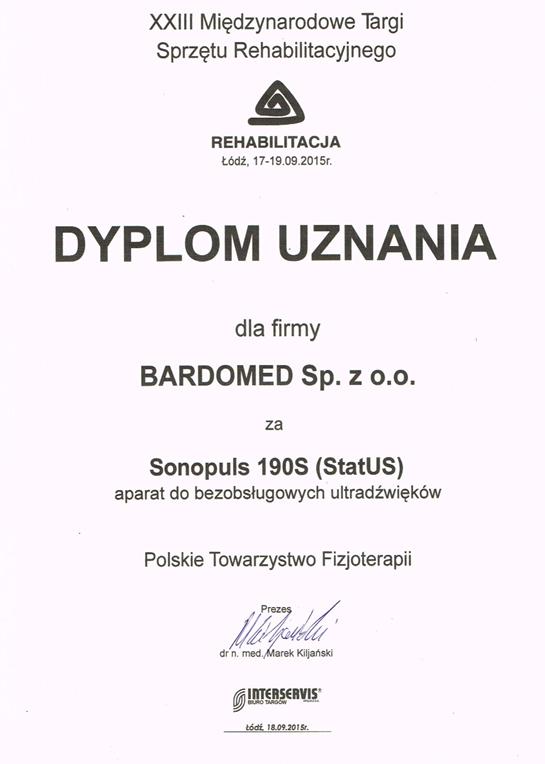 dyplom uznania dla aparatu do bezobsługowych ultradźwięków sonopuls 190s